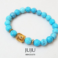 Buddha head stretch gemstone bracelet Turquoise colour hovlite bead stretch bracelet Antique gold buddha bracelet stretch