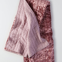 AEO APT Quilted Velvet Throw Blanket, Pink