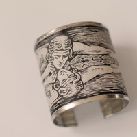 Bracelet cuff handmade out of recycled tin-metal and motif from vintage botanical book: Narcissus