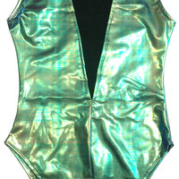 Turquoise Holographic Deep Plunge Rave Bodysuit