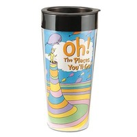 "Vandor 17151 Dr. Seuss ""Oh the Places You'll Go"" 16 oz Plastic Travel Mug, Multicolor"