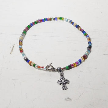 """Colorful Beaded Anklet Strung on Wire Plus Size Slouch Loose Under the Ankle 11 1/2"""" Beach Hippie Boho Style Bohemian Jewelry Cross Charm"""
