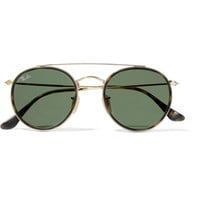 Ray-Ban - Round-frame gold-tone and tortoiseshell acetate sunglasses