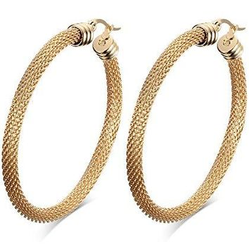 52mm Stainless Steel Gold Mesh Wire Large Hoop Earring for Women Anti Allergy
