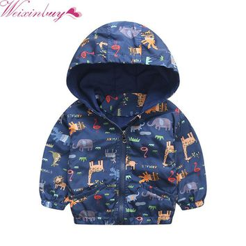 2017 Baby Girls Jacket Active Hooded Outerwear Coats Boys Kids Children Clothing Animal Printing Jacket Windbreaker