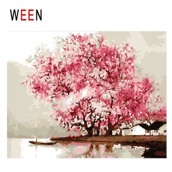 WEEN Beach Boat Diy Painting By Numbers Abstract Pink Flower Tree Oil Painting On Canvas Cuadros Decoracion Acrylic Wall Art