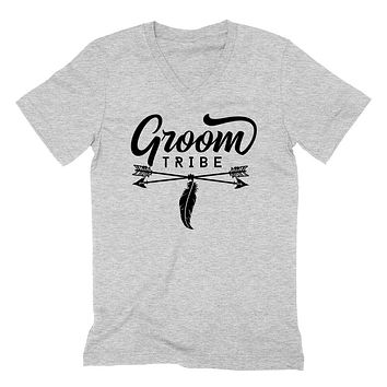 Groom tribe  groomsman bachelor party wedding gift for him   V Neck T Shirt