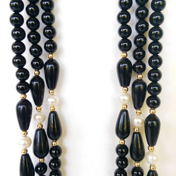Triple Strand 14K, Black Onyx & Pearl Necklace 14k Box Clasp ~ Opera Length ~ 36 Inches