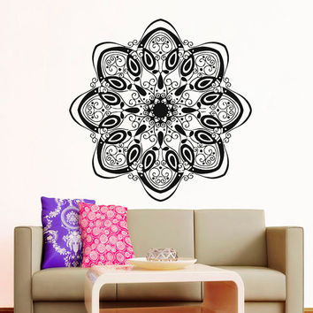 Wall Decals Mandala Indian Pattern Yoga Oum Om Sign Decal Vinyl Sticker Home Decor Art Murals Bedroom Studio Window MN491