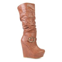 Tall Slouchy Wedge Platform Boot with Ankle Buckle