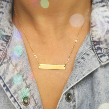 Personalized INITIAL Bar Necklace /  Gold Bar Monogram Necklace / Customized Name Bar Necklace