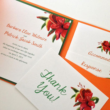 Hand Painted Tropical Lilies Signature Wedding Cotton Invitation Suite Pocketfold | Red Orange Invitation | Beach Wedding