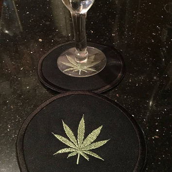 Cannabis Coasters Weed Pot Coasters Party Bbq Adult Coasters