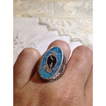 Vintage Native American Style Southwestern Real Turquoise Stone inlay Mens Hawk Ring