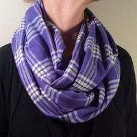 Handmade Infinity Scarf Plaid Flannel - Super Warm Double  Layer Circle Scarf -  Purple, Black and White, Christmas Present, Holiday Gift