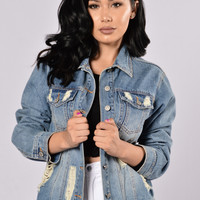 Girlfriend Denim Jacket - Medium Wash