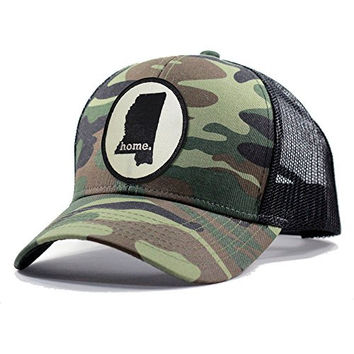 Homeland Tees Men's Mississippi Home State Army Camo Trucker Hat - Black