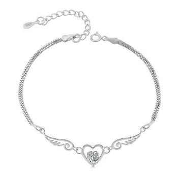 STYLEDOME Sterling Silver Double Angel Wings Heart Charm Bracelets