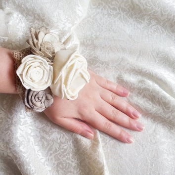 Cream rustic wedding Rustic WRIST CORSAGE bridesmaids boutonniere, Sola Flower, Wedding Flowers custom