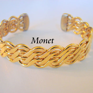 Retro Designer Signed Monet Goldtone Abstract Chain Cuff Bracelet Vintage Jewelry Jewellery