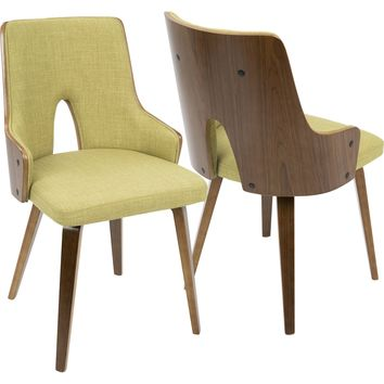 Stella Mid-Century Modern Padded Chairs, Walnut & Green (Set of 2)