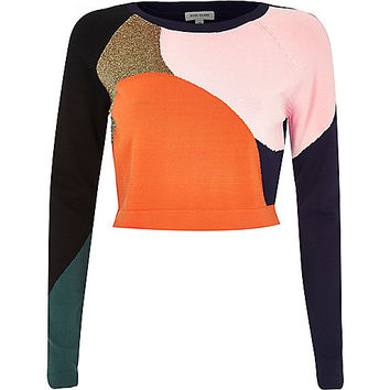 River Island Womens Navy knitted colour block crop top