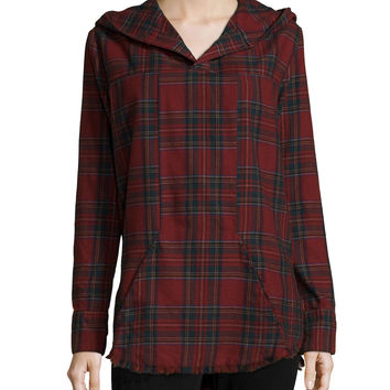 Parker Long-Sleeve Plaid Hoodie, Class Act, Size: