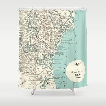 Georgia Coastline Map Shower Curtain -  Atlantic Seaboard travel Home Decor - soft teal Georgia Shore, vintage travel