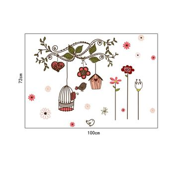 Beautiful Flowers Cartoon Bird Cage Vine DIY Wall Stickers Wallpaper Art Decor Mural Room Decal