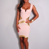 Deedee Nude and Gold Mini Dress | Pink Boutique