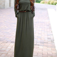 Army Green Long Sleeve Pockets Maxi Dress