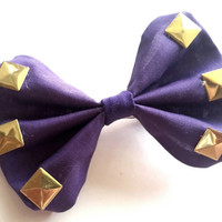 Purple and Gold Studded Small Bow