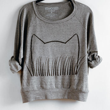 Womens Cat Grass Sweatshirt
