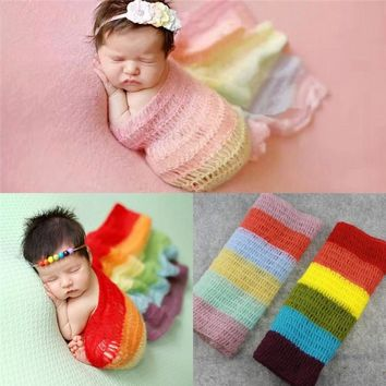 Rainbow Crochet Personalized Bedding Blankets For Baby