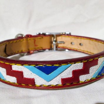 Medium Dog Collar, red, white, blue collar, pet collar, tribal collar, Independence collar, tooled leather, leather dog collar,