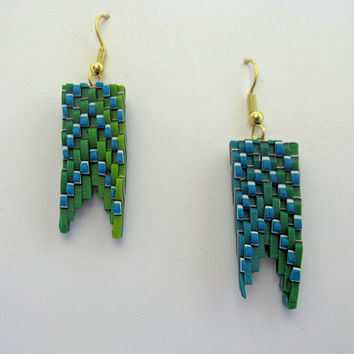 Fish Tail Bargello 3D Art Earrings in Blue, Green, and Yellow Polymer Clay