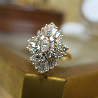 Vintage Antique 14KT Yellow Gold Round Marquise Baguette Diamond Cluster Cocktail Ring Size 7
