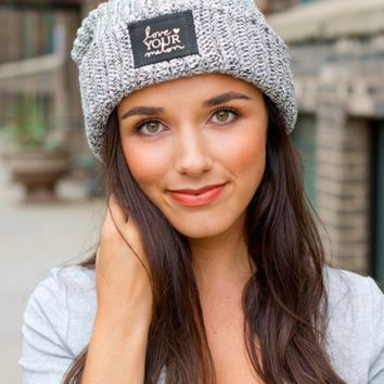Love Your Melon Black Speckled Gold Foil Cuffed Beanie