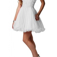 Angel Bride Mini A-Line Sweetheart Tulle Party Homecoming Dresses for Juniors- US Size 2