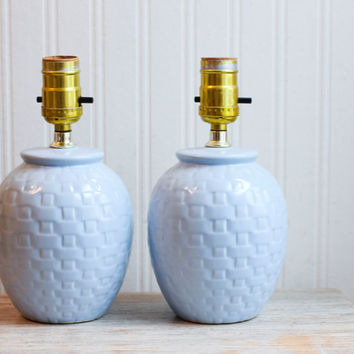 Light Blue Vintage Blue Bedside Lamps - Basket Weave Pattern