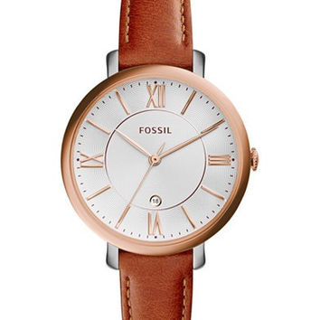 FOSSIL WOMENS JACQUELINE DARK BROWN LEATHER STRAP WATCH 36MM ES3842