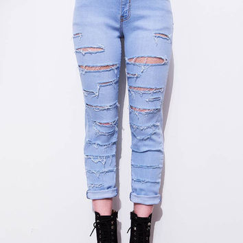 Shred Mid-Rise Straight Jeans