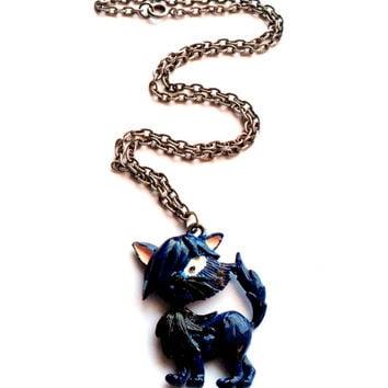 Vintage Enameled Cartoon Cat Necklace Funky Blue Animated Emo Kitten Kitty Pendant Painted 1960s 1970s Unique Unusual Odd Quirky