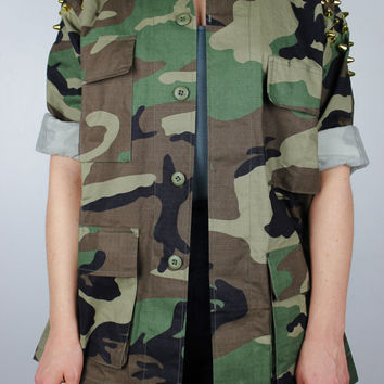 Spiked Studded Four-Pocket Woodland Camouflage Army Jacket Assorted Sizes - Free US Shipping