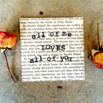 Vintage Book Pages, Vintage Wall Art, All Of Me Loves All Of You Print, Recycled Book Page, Stamped Bee Print, Vintage Decor, Stamped Pages