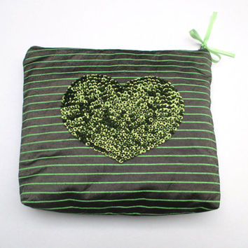 Green heart with beads and sequins, Handmade  pouch, Cosmetic bag, Pencil case,