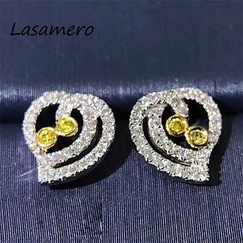 LASAMERO 0.18CTW Natural Diamond Cluster Earrings 18K White Gold Diamond Halo Stud Earrings Fine Jewelry Earring Studs