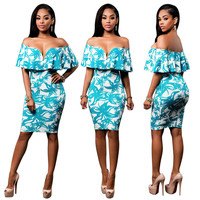 Blue Printed Sweetheart Ovelay Dress with Slash Shoulder