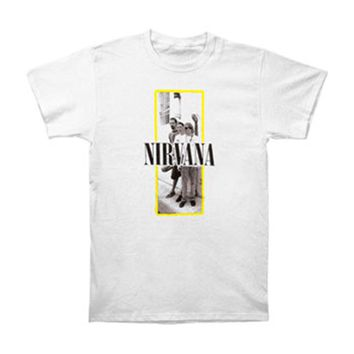 Nirvana Men's  Yellow Frame Slim Fit T-shirt White Rockabilia