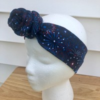 Navy 4th of July Handmade Rose Knot Headband-Baby Hair Accessories-Toddler Kid's Headband-Women's Knit Head Scarf-Gifts For Her